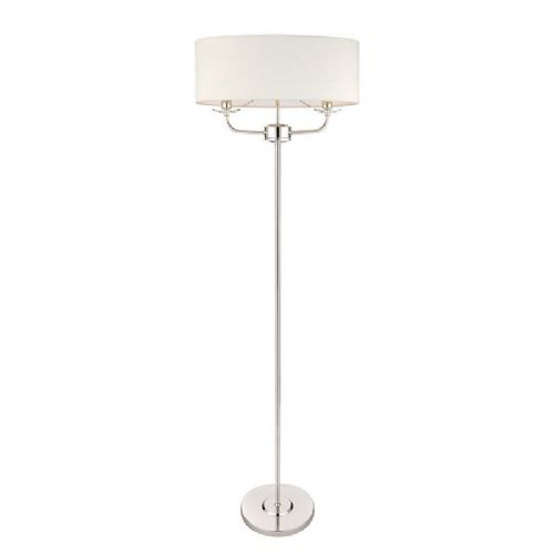 Bright nickel plate & vintage white faux silk floorlamp BX60803-17 by Endon (Double Insulated)